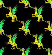 Seamless Decorativeb Astronira's Pattern With Digital Dragons In A Bright Translucent Colors
