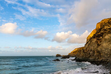 Trevaunance Cove, Cornwall On A Bright Day In Early Autumn