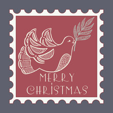 Christmas Dove With A Branch. Stamps With Holiday Vintage Illustration. Postage Stamp Frames. Vector