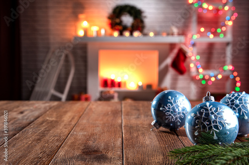 Christmas wooden table with attributes for preparing the holidays in a nice, rom Canvas Print