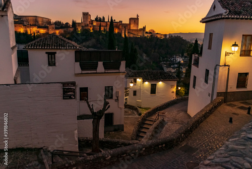 Panoramic view of the Alhambra in Granada from the Albaicín neighborhood