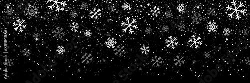 Fototapeta Falling snow on a transparent background. Snow. Snowfall, snowflakes in different shapes and forms. Snowfall isolated on transparent background. Vector illustration obraz