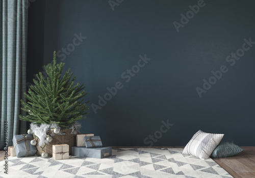 Festive interior with cute little christmas tree Fototapeta