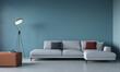 Leinwandbild Motiv Stylish living room interior with a large white sofa and floo…