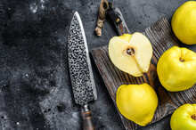 Fresh Gold Quince Fruits On A ...
