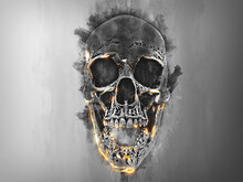 Dark Paint Skull With Orange Glowing Edges