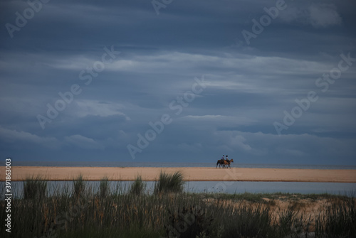 Couple riding on horse by the beach