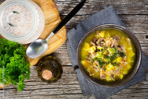 Fotografie, Obraz Polish barley soup with vegetables and chicken heart.
