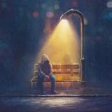 Fototapeta Natura - Digital Painting of a man in rain storm