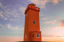 Orange Lighthouse From Iceland