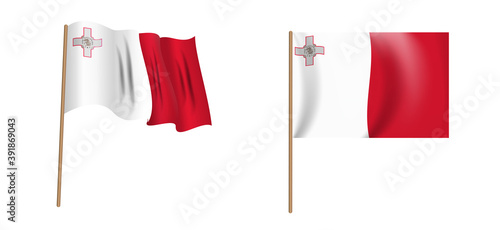 colorful naturalistic waving flag of the Republic of Malta Canvas Print