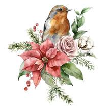 Watercolor Christmas Bouquet W...