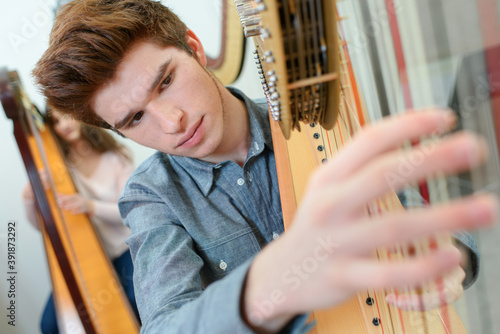 young man playing the harp Wallpaper Mural