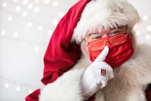 Santa Claus Places Finger Asid...