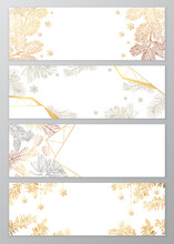 Set Of Vector Holiday Frames With Golden Snowflakes And Christmas Tree Branches On White Background With Empty Place For Text. Vector Illustration