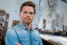 Male Glass Decor Artist Posing