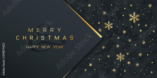 Fototapeta Christmas Poster on black. Vector illustration of Christmas Background with golden snowflakes and geometric decorative elements. obraz