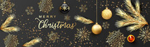 Card Or Banner On Merry Christmas In Gold On A Gray Background With Black And Gold Christmas Balls Snowflakes Fir Branches And Gold Stars And A Red Candle