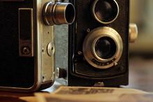 Old, Vintage TLR Camera - Twin Lens Reflex And Vintage Movie Camera