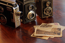 Old, Vintage TLR Camera - Twin Lens Reflex And Vintage Movie Camera