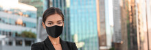 Woman Wearing Face Mask At Office Work During Coronavirus. Asian Businesswoman Portrait Banner Panoramic.