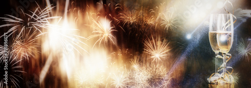 Canvastavla christmas or new year banner with bokeh lights and fireworks