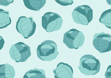 Seamless Pattern Of Blue Cabba...