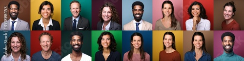 Foto Group of different people in front of a colored background