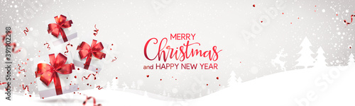 Red Merry Christmas and Happy New Year text on light holiday background with Christmas gift boxes, red ribbons, bows, decoration, sparkles, confetti, bokeh Canvas