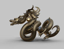 Chinese Monster Dragon Gold - 3d Rendering