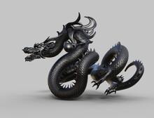 Chinese Monster Dragon Black - 3d Rendering