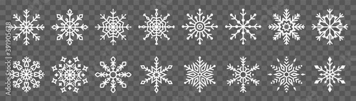 Leinwand Poster Snowflake symbol icon vector set collection on transparent background isolated