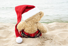 Back View Of Brown Teddy Bear With Santa Claus Hat Sitting On Beach Sand Looking At The Ocean