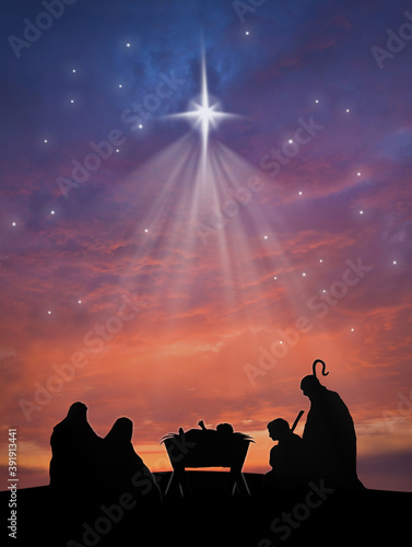 Carta da parati Christmas nativity scene of baby Jesus in the manger with Joseph, Mary, shepherd
