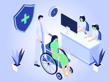 Health Vector Concept: Doctor Push Patient In A Wheelchair To Hospital Reception Desk