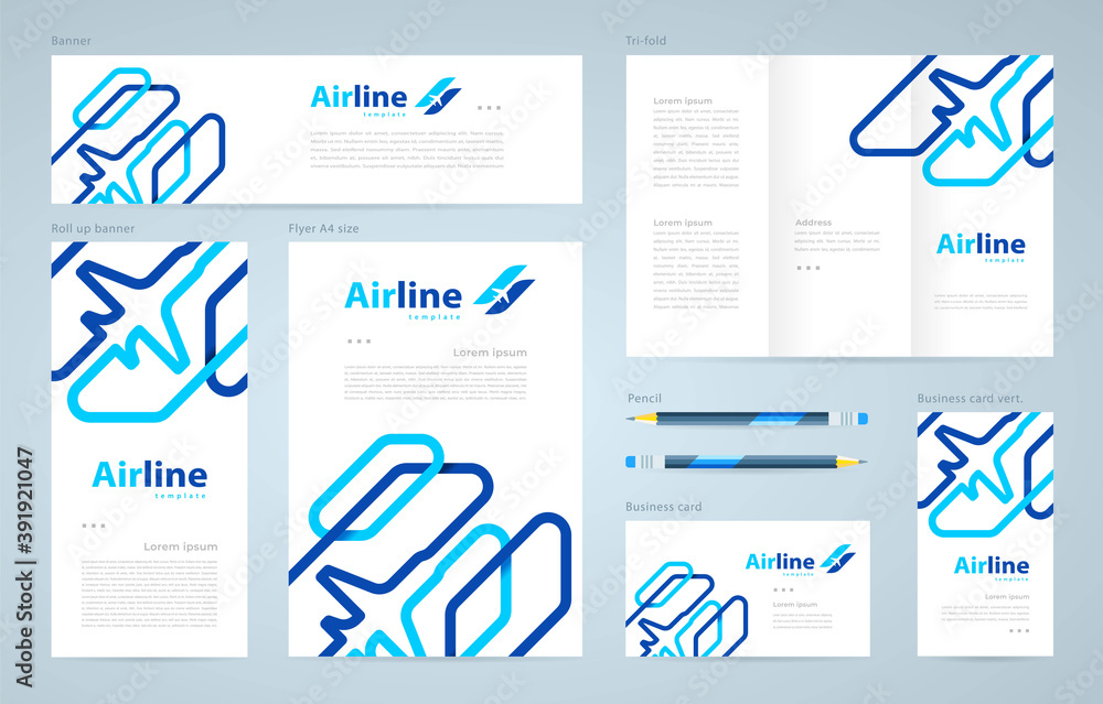 Fototapeta Airplane lines theme Set flyer cover, tri-fold, banner, roll up banner, business card vector blue color