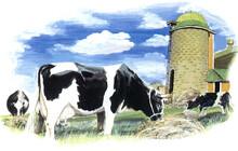 牛 乳牛 サイロ 牧...