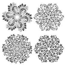 Set Of Circular Patterns. Black White Floral Mandalas.