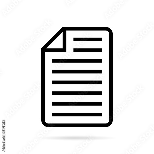 Fototapety, obrazy: Paper sheet icon on white background. Abstract line icon style. Vector.