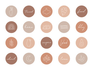 Set of highlight covers, abstract shapes and lines, modern template of social media icons for business in pastel colors. Hand drawn trendy elements for blogger and influencer, boho style isolated.