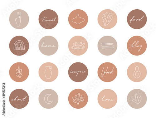 Photo Set of highlight covers, abstract shapes and lines, modern template of social media icons for business in pastel colors