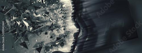 Papel de parede サイエンステクノロジーの概念で幾何学的な人の横顔
