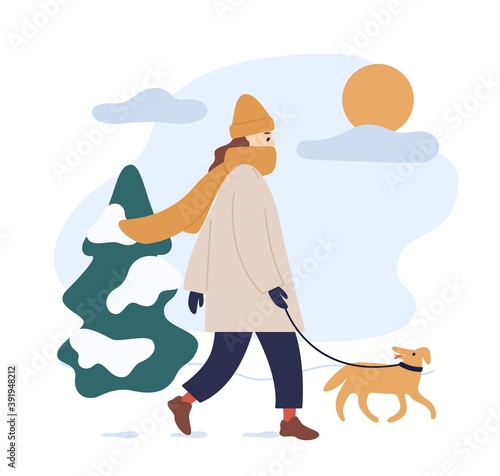 Woman in warm clothes walking dog in snowy winter park isolated on white. Young female character with funny domestic animal outdoors in sunny cold weather. Vector illustration in flat cartoon style