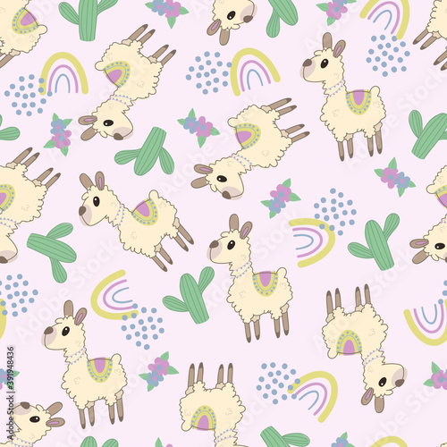 Seamless background with cute Llama. Decorative cute wallpaper for the nursery in the Scandinavian style. Suitable for children's clothing, interior design, packaging, printing. #391948436
