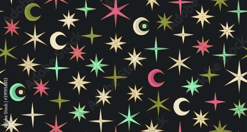 Платно Seamless vector multicolor stars and Moon pattern