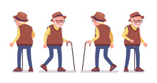 Old Man, Elderly Person With Walking Cane. Senior Citizen, Retired Grandfather Wearing Glasses, Old Age Pensioner, Lonely Grandpa. Vector Flat Style Cartoon Illustration Isolated On White Background