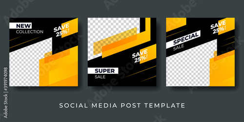 Obraz Social media post design template. suitable for fashion, gym, adventure, business, sale. vector illustration black and yellow trendy color with photo college space. - fototapety do salonu