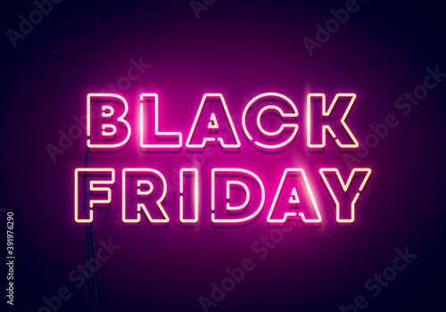 Vector Illustration Black Friday Neon Light.