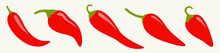 Chili Hot Pepper Icon Set Line. Red Chilli Cayenne Peppers. Vegetable Collection. Flat Design. White Background. Isolated.