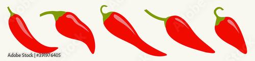 Chili hot pepper icon set line Fototapeta